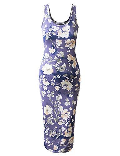 (JJ Perfection Women's Scoop Neck Slim Fit Sleeveless Stretchy Tank Midi Dress DARKNAVYPEACH 3XL)