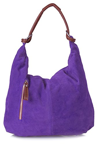 (Real Italian Handmade Suede Leather Large Hobo Shopper Shoulder Bag Purse (Medium Purple))