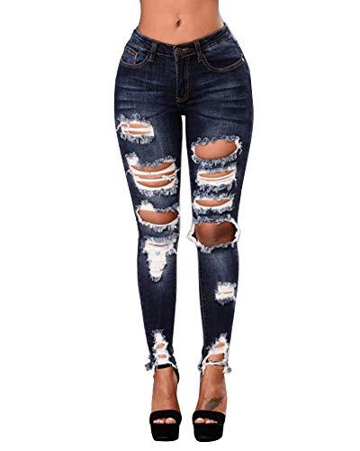 Stretti Blu Matita Strappati Donna Nero Quge Leggings A Pantaloni Eleganti Jeans TwqZR51