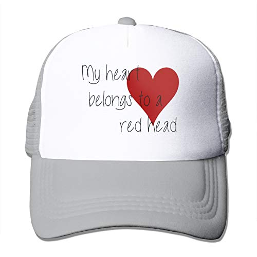 Hhyingb Red Heart Cool Unisex Adult Trucker Hat Mesh Cap Gray