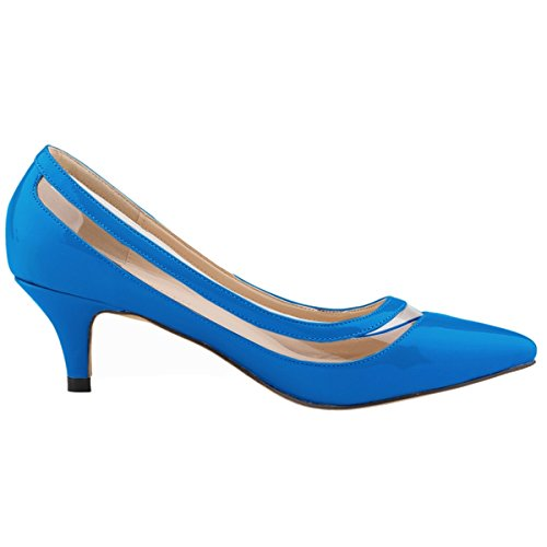 Loslandifen Womens Low Mid Heels Shoes Leather Pointed Dress Pumps C-skyblue f0091nyLp