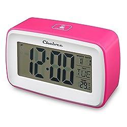 Alarm Clock, Chelvee Recording Digital Smart Alarm Clock, Time/Date/Temperature Display , Snooze Function, Battery Operated (Pink)