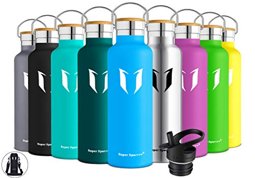 Super Sparrow Stainless Steel Vacuum Insulated Water Bottle, Double Wall Design,Standard Mouth - 500ml & 750ml - BPA Free - with 2 Exchangeable Caps + Bottle Pouch (Sky Blue, 750ml-25oz)