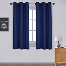 NICETOWN Thermal Insulation Blackout Curtains - Ring Top Solid Curtain for Kid's Room (1 Pair,42 x 63 Inch in Royal Blue)
