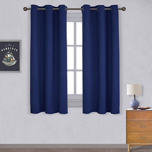 NICETOWN All Season Thermal Insulated Solid Grommet Top Blackout Curtains /  Drapes / Panels For Kidu0027s Room (1 Pair,42 X 63 Inch In Navy Blue)