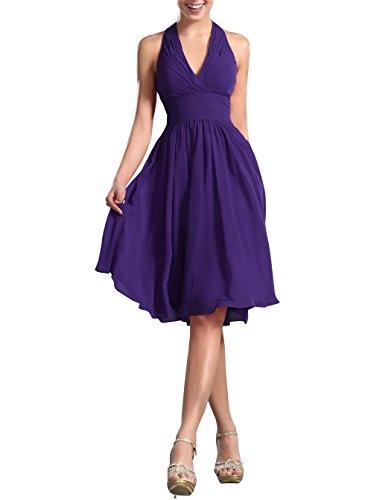 (Ovitina Short for Juniors Cheap Women's Knee Length Halter Bridesmaid Dresses Purple us14)