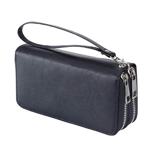 Women's Double Zipper Wallet Large Clutch Cellphone Bag with Wristlet and ID Window (Noble Black)