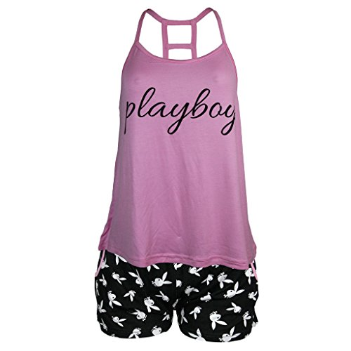 Playboy Women's Graphic Tank with Logo Boxer Shorts Pajama Sleepwear Set Pink Large