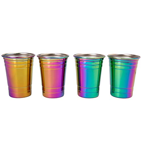 Rainbow Stainless Steel Cups, 16oz - Set of 4, Unicorn Cups are durable & Unbreakable for Indoor and Outdoor use - BPA Free