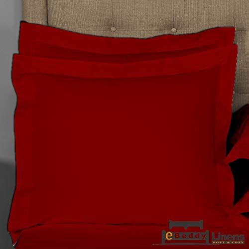 Pillow sham Set of 2 Burgundy Solid 800 Thread Count Euro/Square (28x28) Size Envelope Closure Pillow Cover   Long Staple - Sateen Weave Silky Soft Natural Cotton   breathable & Smooth Feel