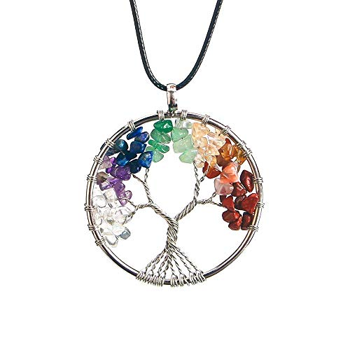 Wand Pendant Crystal (LUAIDA Tree of Life Pendant, Natural Healing Crystal Necklace, Chakra Jewelry For Mother, Great Mother's Day Gift (Colorful))