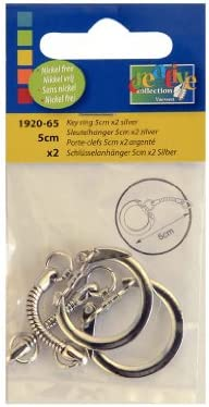 Vaessen Creative 5 cm Key Ring Pack of 2 Silver