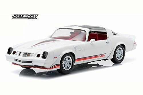 1981 Chevy Camaro Z28 T-Top, White w/ Red Stripes - Greenlight 12906 - 1/18 Scale Diecast Model Toy Car