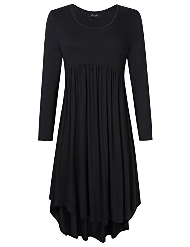AMZ PLUS Plus Size Scoop Neck Long Sleeve Pleated Tunic Casual Dress for Women Black 2XL (Holiday Womens Jacket)