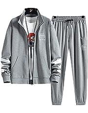 ملابس رياضية للرجال مكونة من قطعتين بدلة للركض كاجوال ومريحة، طقم لباس رياضي من قطعتين من توب وبنطال بدلة رياضية للرجال (اللون: H013 زهور رمادي، المقاس: L)