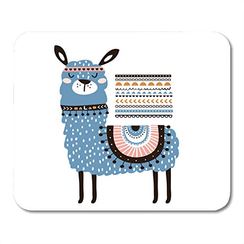 Boszina Mouse Pads Advertisement Lama Cute Cartoon Llama with in Tribal Style Childish for Nursery Kids Apparel Abstract Mouse Pad for notebooks,Desktop Computers mats 9.5
