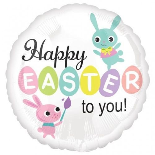 Happy Easter Painted Brush Bunnies 18 Inch Foil -