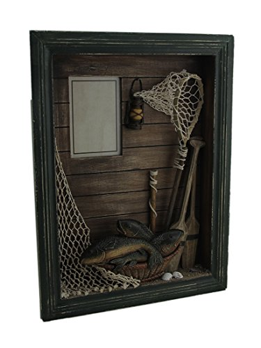 Fish Shadow Box (Wood Shadow Boxes Catch Of The Day Decorative Lake Theme Shadowbox Photo Frame 11.75 X 15.75 X 2.25 Inches Green)