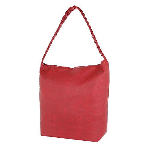 Ital-Design - Bolso de asas de Material Sintético para mujer rojo