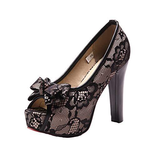Boda Vestido Boca Para Tacones Zapatos Fiesta Hlg Arco Altos Plataforma Oculta Pescado Malla De Mujer Black Bombas zBOqWnEW