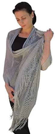 Sheer-Delights Lurex Fringed Evening Wrap Shawl for Prom Wedding Formal Silver