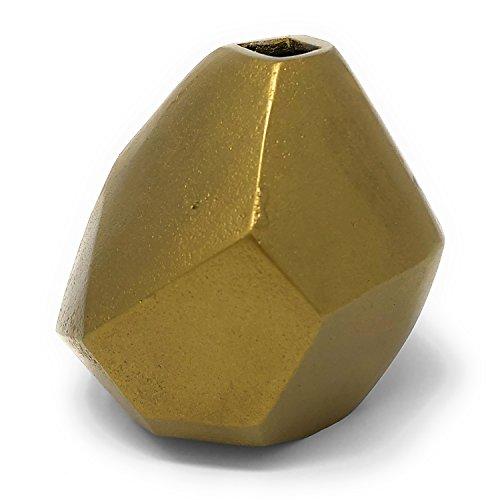 HomArt Liv 4.5-inch Faceted Cast Aluminum Vase, Brass (Brass Bud Vase)