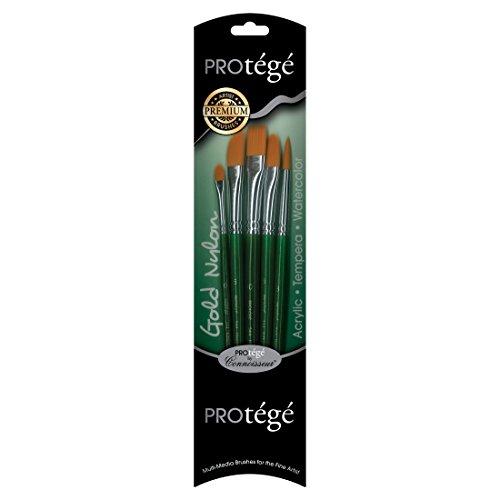 Connoisseur Fine Art Products Protege Gold Smoke Taklon Short Handle Paint Brush Set, Includes No.6 Filbert, No.6 Dagger, No.8 Comb and No.10 Flat ()