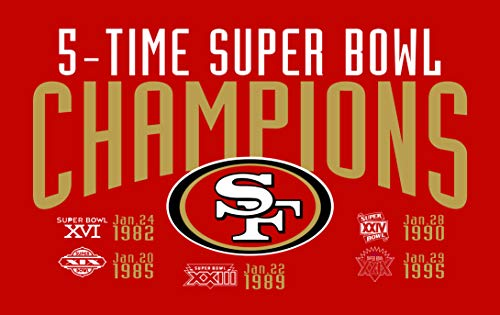 HASTTHOU Championship Flag - NFL Team Banners Sewn 3x5 Foot Banner Championship Flag (San Francisco 49ers)