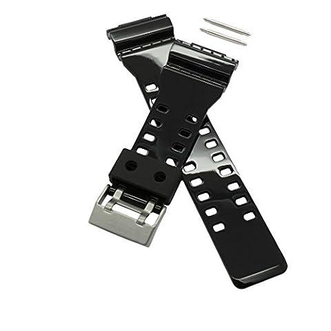 PerFit Casio Replacement Watch Band + Spring Rods for 10347688 10378391 G-Shock G-8900, GA-100, GA-110, GA-120, GA-300, GAC100 (Gloss (G Shock Gloss)