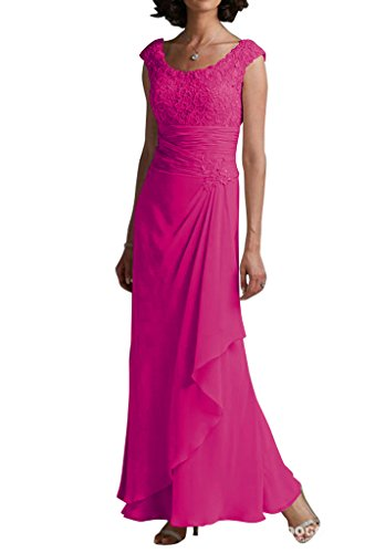 LOVEBEAUTY Round Collar Sleeveless Chiffon Flower Long Mother Of The Bride Dresses Fuchsia 16
