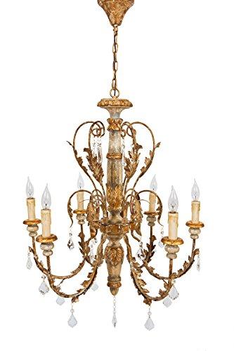 Manor Luxe Vanderbilt Wood, Metal and Glass Crystal Luxury 6 Candelabra Light Chandelier Lighting Ceiling Fixture, 33 x 27