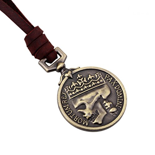 Classic Coin Brown Leather Pendant Necklace Skull Steampunk
