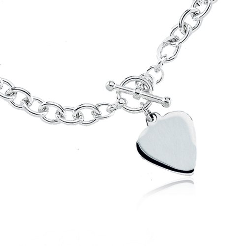 High Polished Heart Dangle Toggle Bracelet in Silver - 8 Inch ()
