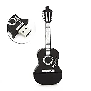 CHUYI Cartoon Guitar Shape 8GB USB Flash Drive USB Flash Disk Pen Drive Memory Stick Pendrive Gift Black Color