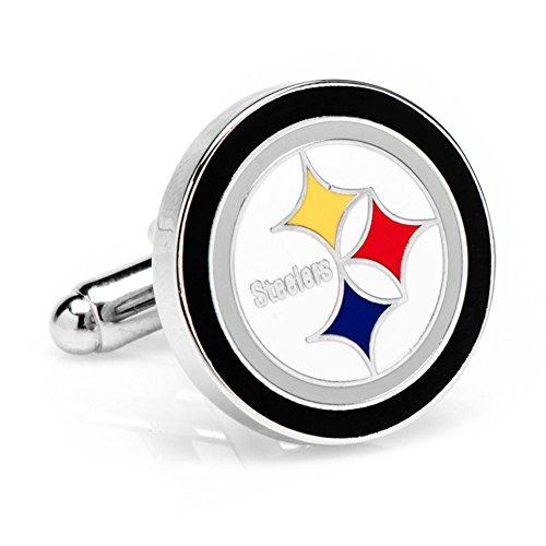 Silver Pittsburgh Steelers Cufflinks Novelty 1 x 1in