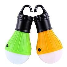 Tent Light,Hmane 2Pcs Outdoor Camping Portable Hanging LED Tent Light Bulb Battery Powered Fishing Lamp - Color Random