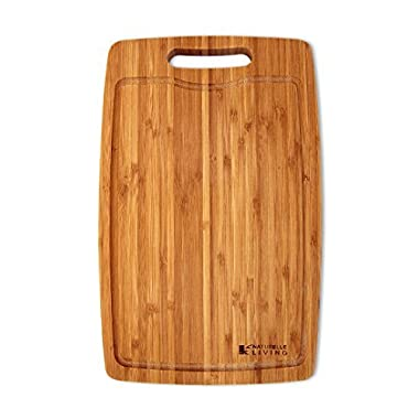 Large, Thick Bamboo Cutting Board, 15 x 9.5 Inch Vertical Grain with Drip Groove and Handle. Wood Kitchen Cutting Boards by Naturelle Living