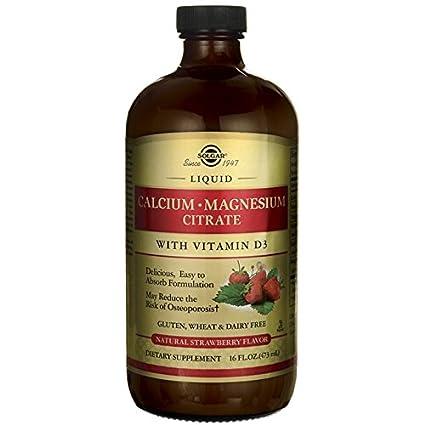 Solgar Liquid Calcium Magnesium Citrate with Vitamin D3, Natural Strawberry, 16 Ounce