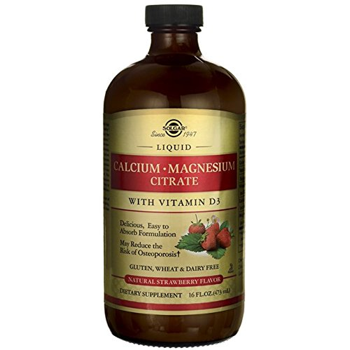 16 Ounce Liquid Calcium - Solgar Liquid Calcium Magnesium Citrate with Vitamin D3, Natural Strawberry, 16 Ounce