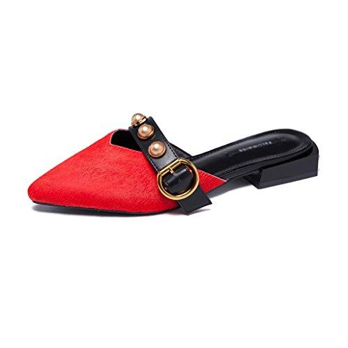 Rouge Aiguillé Bureau Sandales Extérieur Porter Chaussures ZCJB Mode Femme Pantoufles Baotou axvq17x