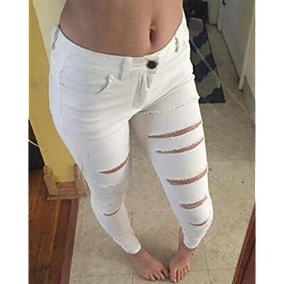Pantalones De Mezclilla De Mujer Pantalones Rasgados De Ropa Mujer Cintura Elástica Pantalones De Lápiz Delgado Leggings Pantalones De Colores Sólidos (Color : Blanco, Size : M): Ropa y accesorios