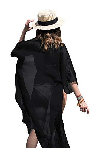 FOCUSNORM Women Chiffon 3/4 Sleeves Beach Dress Kimono Cardigan Swimsuit Cover Up (One Size Fits US XS-L, Black) from FOCUSNORM