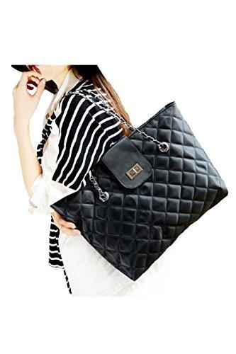 SODIAL(R) borsa a tracolla alla moda borsetta catena di nylon donne (nero)