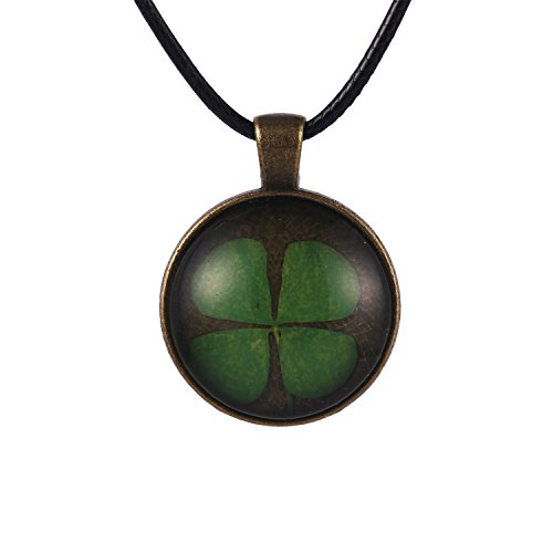 Lucky Charm Pendant Necklace (FM42 Real Irish Lucky Four Leaf Clover Round Pendant Necklace)