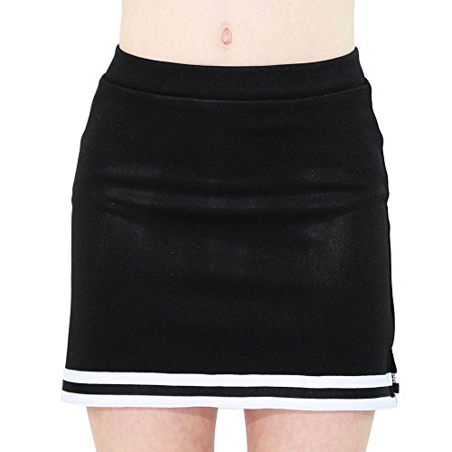 Cheerleaders Uniform Skirts - Danzcue Child A-Line Cheerleaders Uniform Skirt, Black-White, Medium
