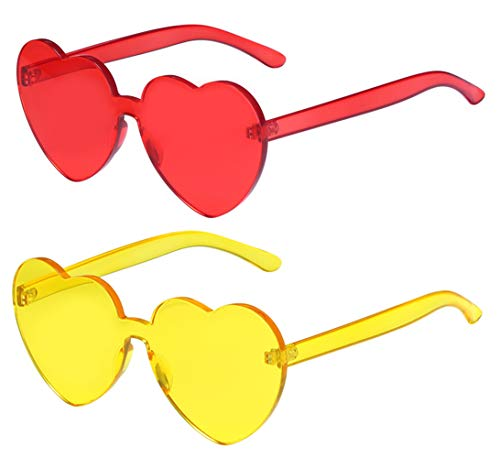 One Piece Heart Shaped Rimless Sunglasses Transparent Candy Color Eyewear(Red+Yellow)
