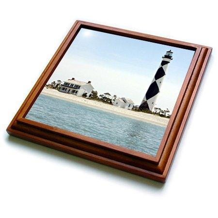 3dRose trv_93274_1 North Carolina, Cape Lookout Lighthouse US34 LSE0035 Lynn Seldon Trivet with Ceramic Tile, 8 by 8