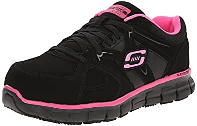 Skechers for Work Women's Synergy Sandlot Slip Resistant Work Shoe,Black/Pink,5 M US