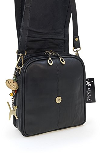 en cuir Noir Sac besace Catwalk Collection type