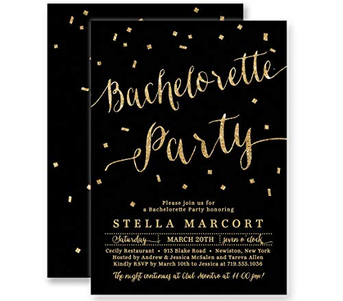 Bachelorette Party Invitations Black & Gold Glitter Look Personalized Boutique Invites with Envelopes- Stella style